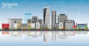 Gurgaon India City Skyline with Gray Buildings, Blue Sky and Ref vector illustration