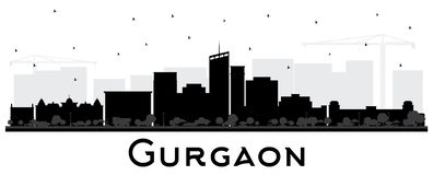 Gurgaon India City Skyline Silhouette with Black Buildings Isolated on White. royalty free illustration