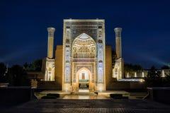 Guri Amir a Samarcanda alla notte Fotografie Stock