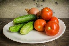 Gurkalökar och tomater Royaltyfri Foto