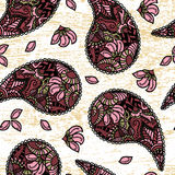 gurkapaisley turk seamless vektor för illustration Återställd tappning stock illustrationer