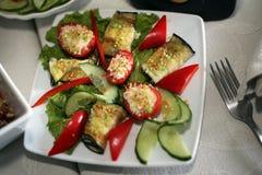 Gurke, Tomate, Aubergine Stockfoto