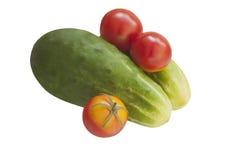 Gurken und Tomaten Stockfotos