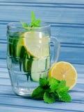 Gurkenzitronenwasser Stockbild