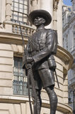 Gurkha Soldier Monument, Whitehall, London. Bronze statue of a Gurkha soldier, a monument to the Nepalis who fight for the British Army.  Ministry of Defence Stock Image