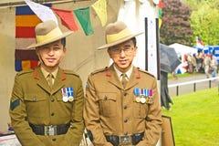 Gurkhas soulevant le soutien de la confiance d'assistance sociale de Gurkha. Photographie stock libre de droits