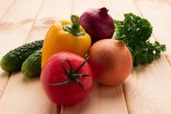 Gurkor lökar, tomater, gräsplan för sallad Royaltyfri Fotografi