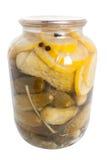 gurkor på burk royaltyfria foton