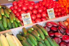 Gurkor tomater, lökar på den ganska räknaren för grönsak Arkivbilder