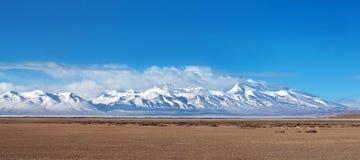 Gurla Mandhata Mount and herd of kiang, Tibet Royalty Free Stock Photos