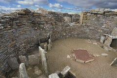 Gurness新石器时代的Broch在奥克尼,苏格兰 免版税图库摄影