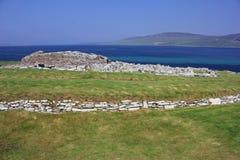 Gurness Broch på Westray, Orkney öar, Skottland Royaltyfri Fotografi