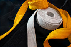 Gurte des Karateanfängers lizenzfreie stockbilder