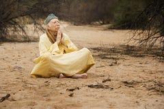 Guru in the desert stock images