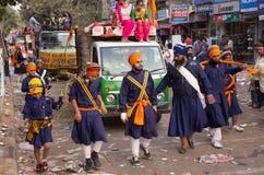 Guru Nanak Gurpurab procession going through Chandni Chawk in De Royalty Free Stock Photo