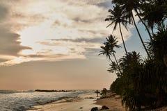 Gurubebila beach in Sri Lanka. Indian ocean. Sunset. The City Of Weligama royalty free stock photos