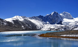Gurudogmar Lake. Gurudogmar sahib: The holy lake at sikkim, India with snow laden peaks in bright sunny day Royalty Free Stock Images
