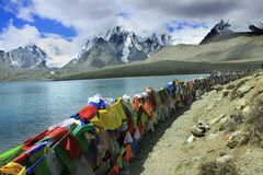 Gurudongmar Lake, North Sikkim, India. Gurudongmar Lake Buddhist Flag flutters in GuruDongmar Lake.JPG Buddhist Holy Lake -Gurudongmar Lake LocationNorth Sikkim stock images