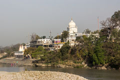 Gurudwara Shri Paonta Sahib. The great Gurudwara, or temple of the Sikhs, at Paonta Sahib, India, at the bank of the river Yamuna. It is a Sikh pigrimage stock photos