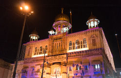 Gurudwara Sis Ganj Sahib in old delhi decorated with lights. Gurudwara Sis Ganj Sahib in old delhi or delhi 6, decorated with beautiful lights at night Stock Image