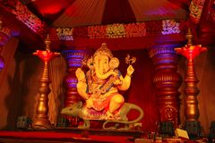 Guruji Talim Ganapati idol with its ride Mushak or mouse during Ganapati festival. Pune Stock Photography