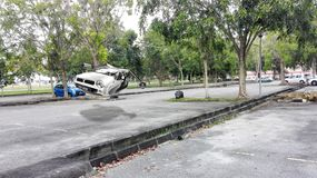 Gurun Pandora, Kedah. Perodua Kancil flying model in Universiti Sains Malaysia background royalty free stock photo