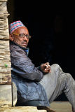 Gurung sherpas in the Himalayas, Nepal Stock Photography