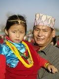 Gurung Vater und Tochter Lizenzfreie Stockfotos