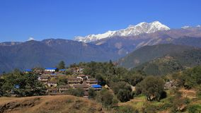Gurung village Ghale Gaun and Annapurna range stock images