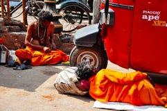 2 gurus relax in Varanasi, India. 2 local gurus relax in Varanasi, India royalty free stock images