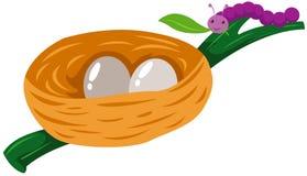 Gusano con la jerarquía de huevos Fotografía de archivo libre de regalías