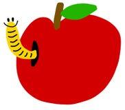 Gusano en manzana roja ilustración del vector