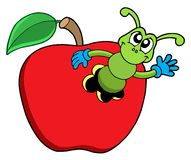 Gusano lindo en manzana stock de ilustración