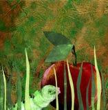 Gusano verde y manzana roja ilustración del vector