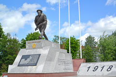 GUSEV, RUSSIA. Military and memorial complex of history of World War I (monument Bayonet attack). GUSEV, RUSSIA - JUNE 04, 2015: Military and memorial complex of stock image