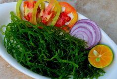 Guso (Sea Weed Salad). Food from the Philippines; Guso (Sea Weed Salad) A popular, brightly green coloured salad with Guso as main ingredient. (Food Preparation stock photo