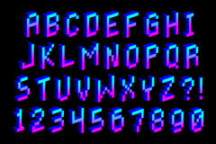 Guss-Alphabet und Zahlen des Pixel-3D lokalisiert Vektor Abbildung