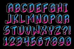 Guss-Alphabet und Zahlen des Pixel-3D lokalisiert Lizenzfreie Stockfotos