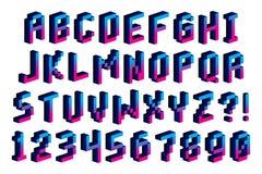 Guss-Alphabet und Zahlen des Pixel-3D lokalisiert Stockfoto
