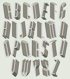 Guss- 3d, dünne und hohemaßbuchstaben eingestellt Stockfoto