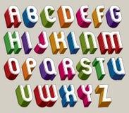 Guss 3d, vector bunte Buchstaben, geometrisches Maßalphabet Stockbilder
