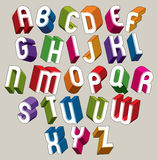 Guss 3d, vector bunte Buchstaben, geometrisches Maßalphabet Stock Abbildung