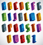 Guss 3d, vector bunte glatte Buchstaben Stockbild
