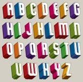 Guss 3d, vector die mutigen und schweren Buchstaben, geometrisches dreidimensionales Al Lizenzfreie Stockfotos