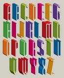 Guss 3d, vector hohe dünne Buchstaben, geometrisches Mass-alphabe Lizenzfreie Stockbilder