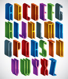 Guss 3d, vector hohe dünne Buchstaben, geometrisches Mass-alphabe Lizenzfreie Abbildung