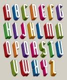 Guss 3d, vector hohe dünne Buchstaben, geometrisches Mass-alphabe Stockbild