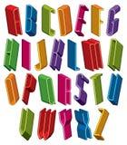 Guss 3d, vector hohe dünne Buchstaben, geometrisches Mass-alphabe Lizenzfreie Stockfotografie