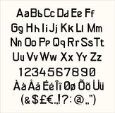 Guss, grafische Linie Buchstabe des Alphabettextes bunt, genau, lateinisch stock abbildung