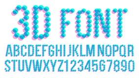 Guss-Vektor des Pixel-3D Futuristisches Alphabet ABC Anaglyphic Buchstaben, Zahlen Störschub-Text Abbildung stock abbildung